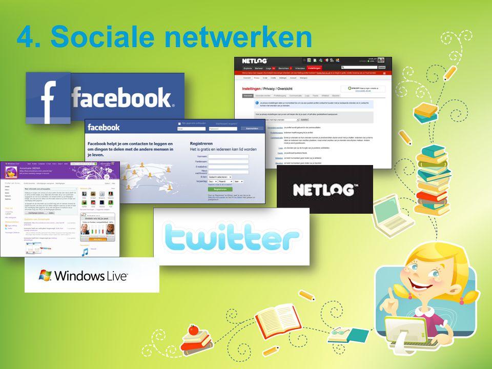 4. Sociale netwerken Vraag de kinderen of ze sociale netwerken gebruiken. Leg uit: wat zijn sociale netwerken en hoe schrijf je je in.