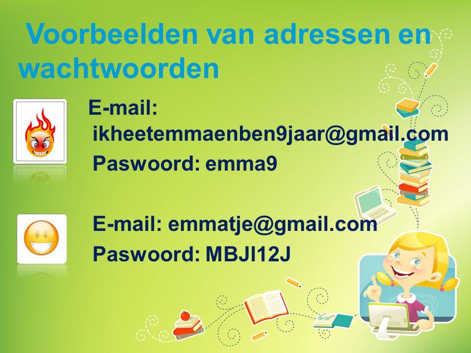 Voorbeelden van adressen en wachtwoorden