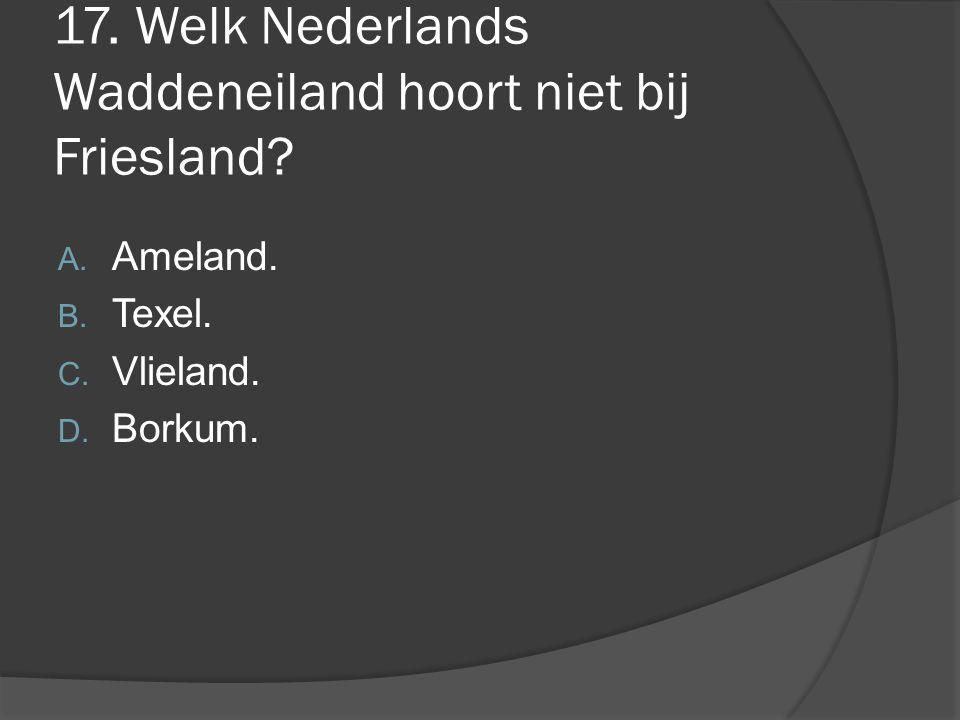 17. Welk Nederlands Waddeneiland hoort niet bij Friesland
