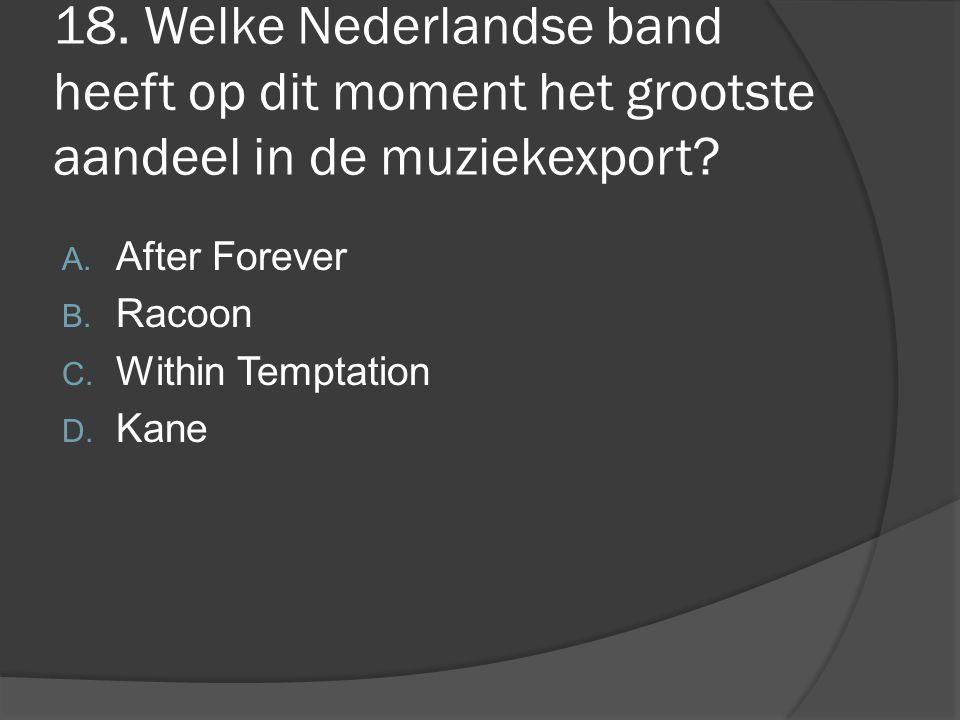 18. Welke Nederlandse band heeft op dit moment het grootste aandeel in de muziekexport