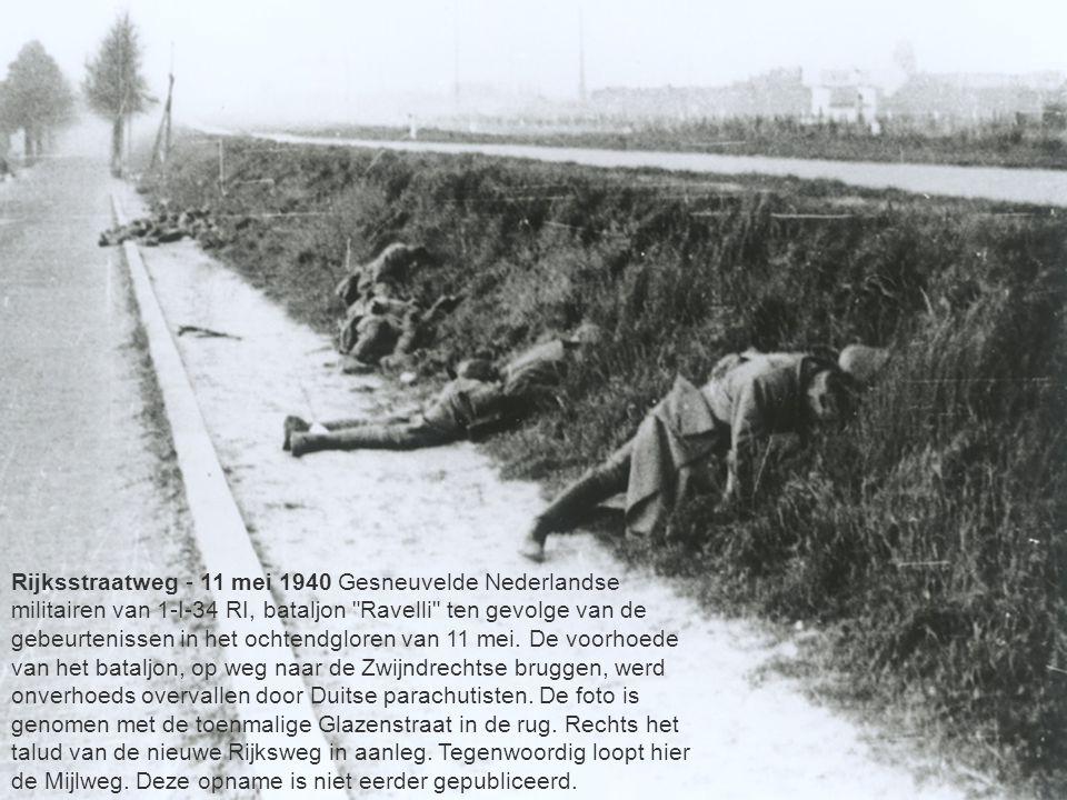 Rijksstraatweg - 11 mei 1940 Gesneuvelde Nederlandse militairen van 1-I-34 RI, bataljon Ravelli ten gevolge van de gebeurtenissen in het ochtendgloren van 11 mei.