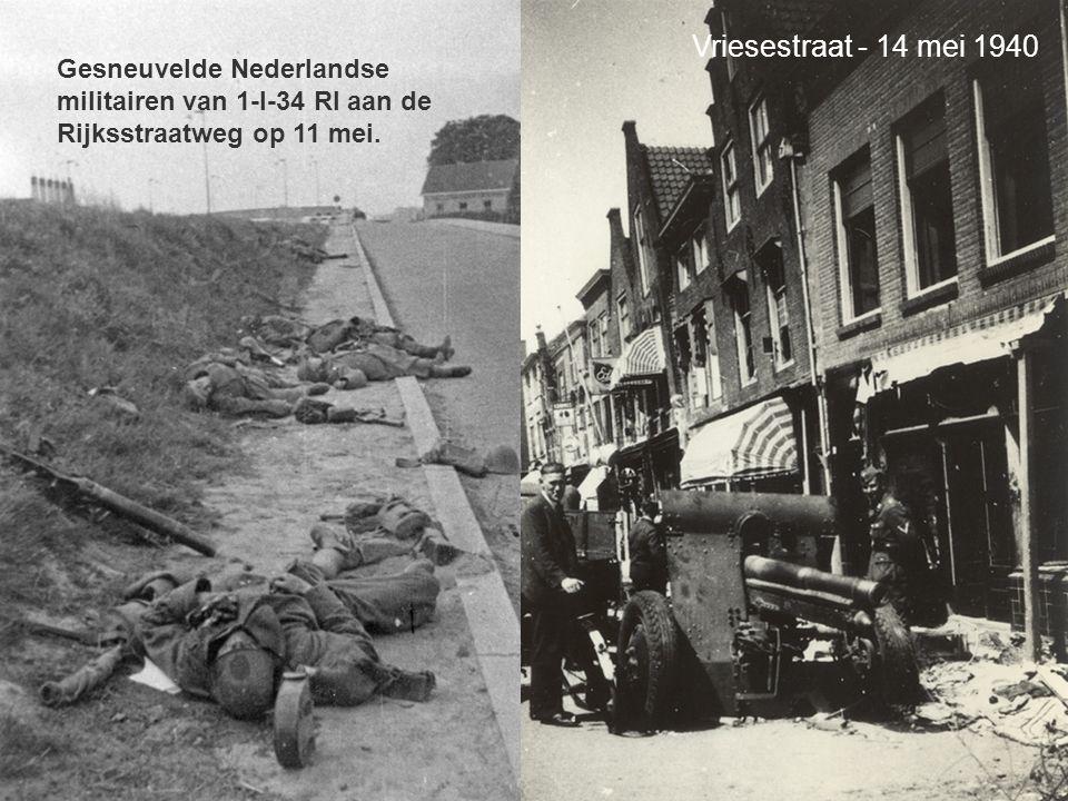 Vriesestraat - 14 mei 1940 Gesneuvelde Nederlandse militairen van 1-I-34 RI aan de Rijksstraatweg op 11 mei.