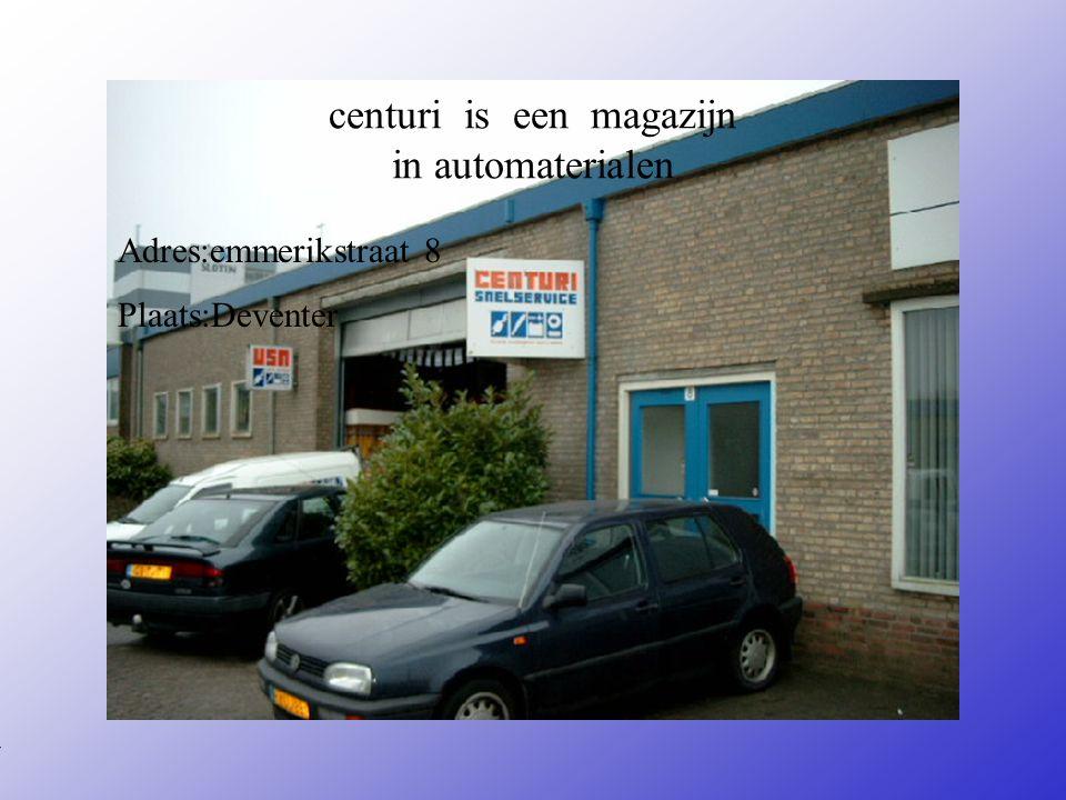 centuri is een magazijn in automaterialen