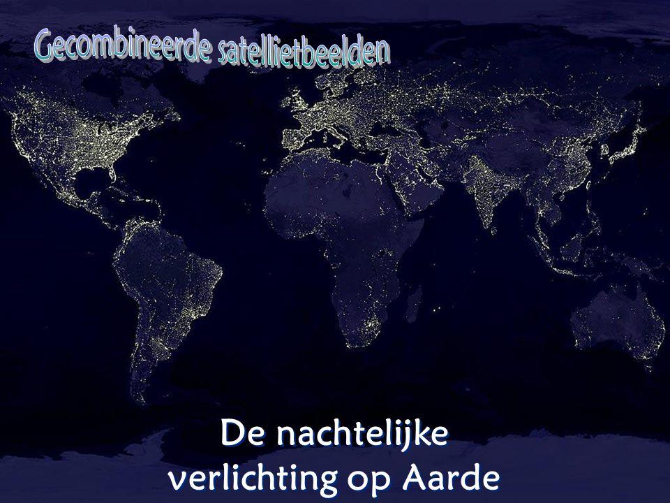 De nachtelijke verlichting op Aarde