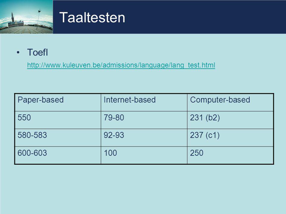 Taaltesten Toefl. http://www.kuleuven.be/admissions/language/lang_test.html. Paper-based. Internet-based.