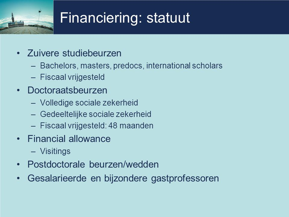 Financiering: statuut