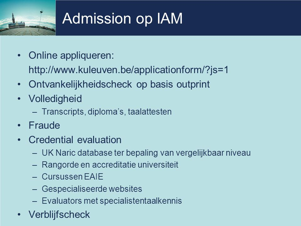 Admission op IAM Online appliqueren: