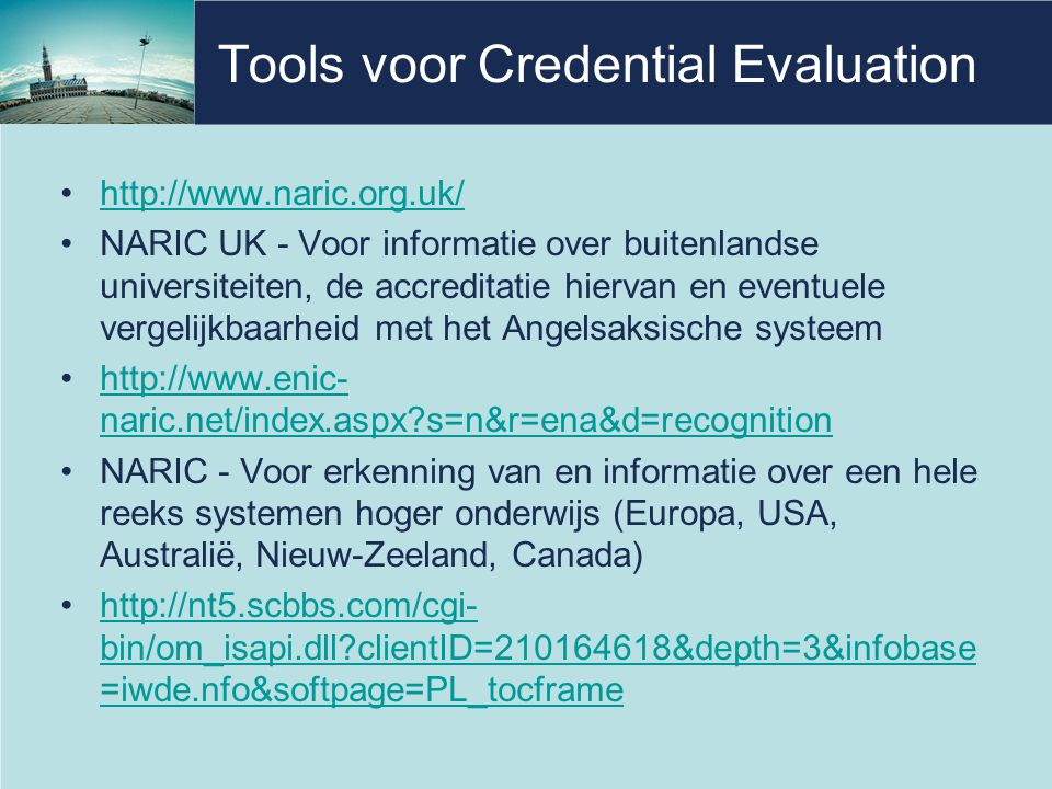 Tools voor Credential Evaluation