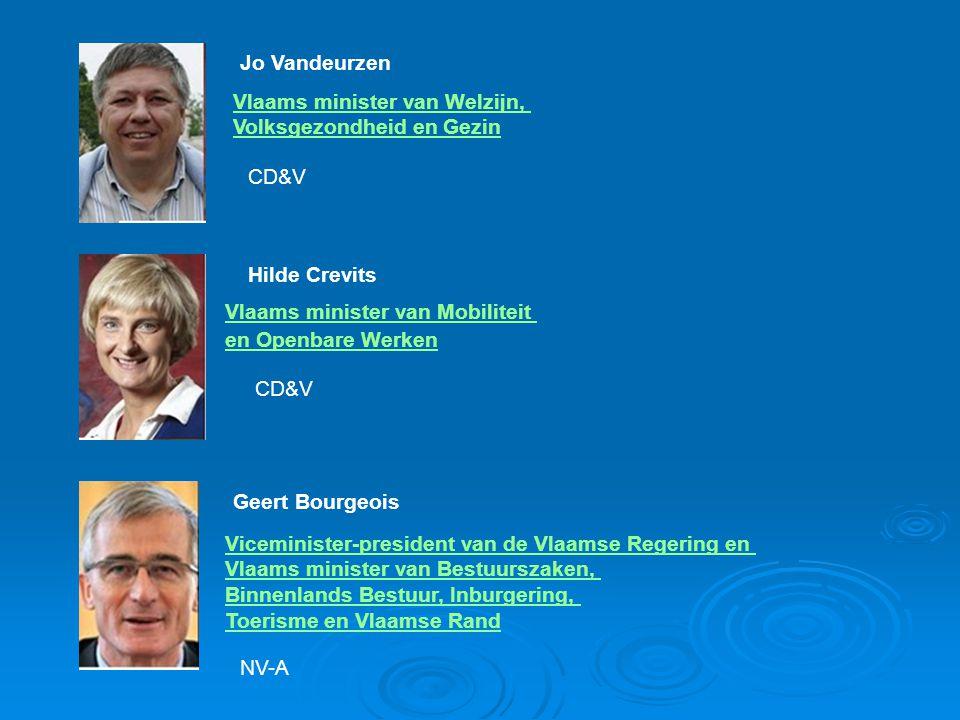 Jo Vandeurzen Vlaams minister van Welzijn, Volksgezondheid en Gezin. CD&V. Hilde Crevits. Vlaams minister van Mobiliteit.