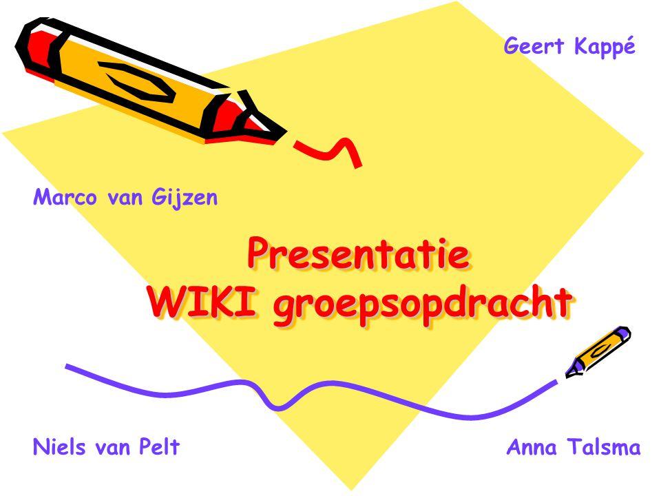 Presentatie WIKI groepsopdracht