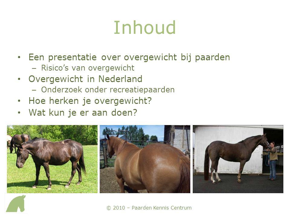 Inhoud Een presentatie over overgewicht bij paarden