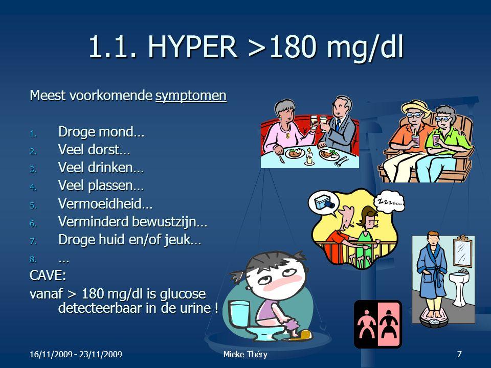1.1. HYPER >180 mg/dl Meest voorkomende symptomen Droge mond…