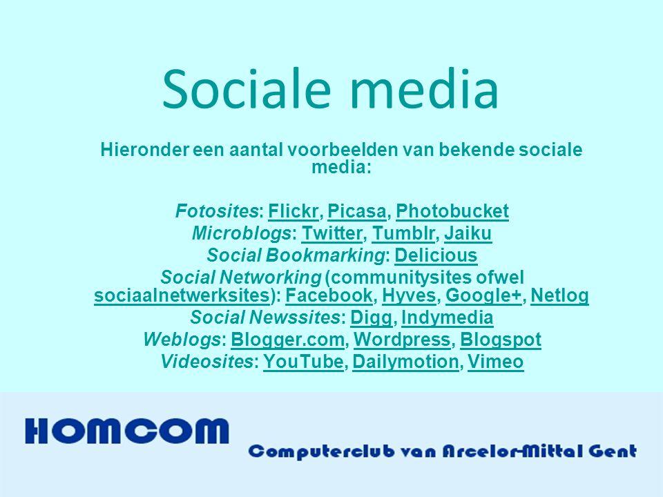 Sociale media Hieronder een aantal voorbeelden van bekende sociale media: Fotosites: Flickr, Picasa, Photobucket.