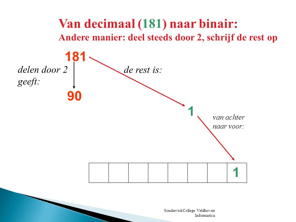 Van decimaal (181) naar binair: