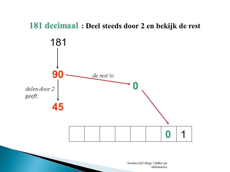 181 90 45 1 181 decimaal : Deel steeds door 2 en bekijk de rest