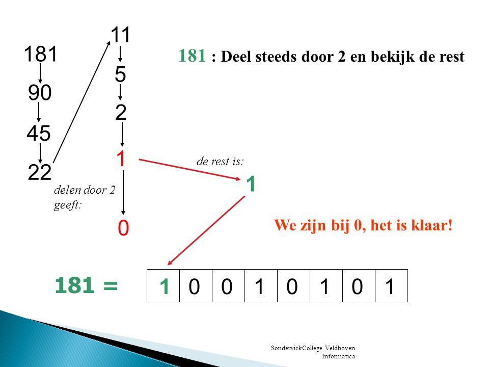 11 181. 181 : Deel steeds door 2 en bekijk de rest. 5. 90. 2. 45. 1. de rest is: 22. 1. delen door 2.