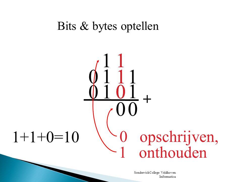 1 1 1 1 1 1 1+1+0=10 0 opschrijven, 1 onthouden Bits & bytes optellen