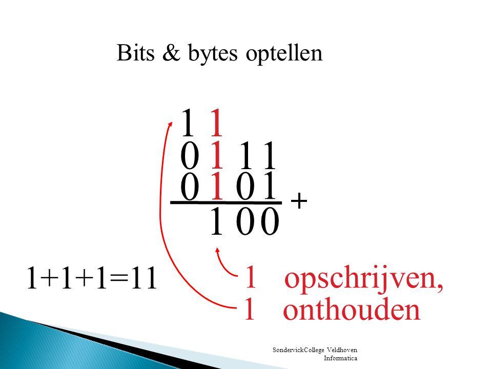 1 1 1 1 1 1 1+1+1=11 1 opschrijven, 1 onthouden Bits & bytes optellen