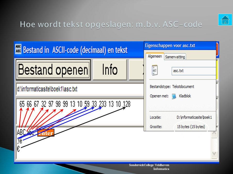 Hoe wordt tekst opgeslagen: m.b.v. ASC-code