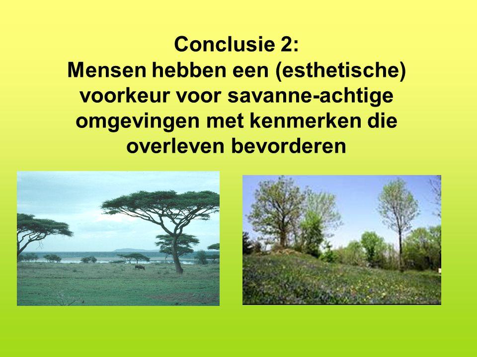 Conclusie 2: Mensen hebben een (esthetische) voorkeur voor savanne-achtige omgevingen met kenmerken die overleven bevorderen.