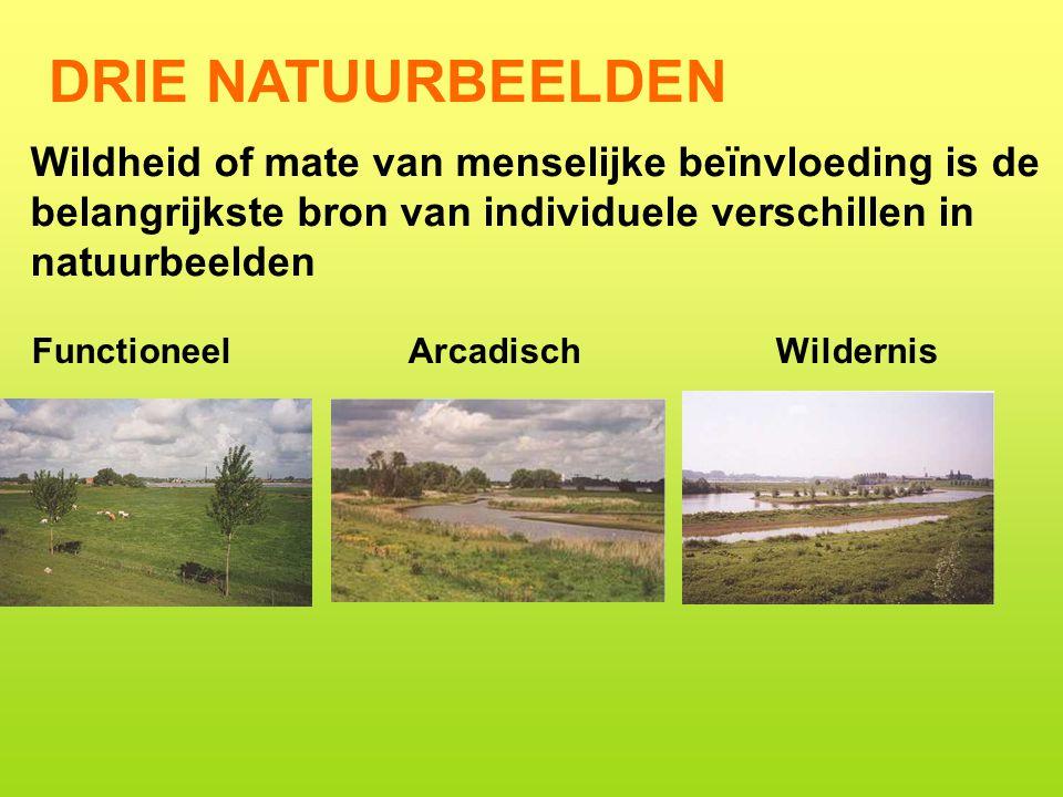 DRIE NATUURBEELDEN Wildheid of mate van menselijke beïnvloeding is de belangrijkste bron van individuele verschillen in natuurbeelden.