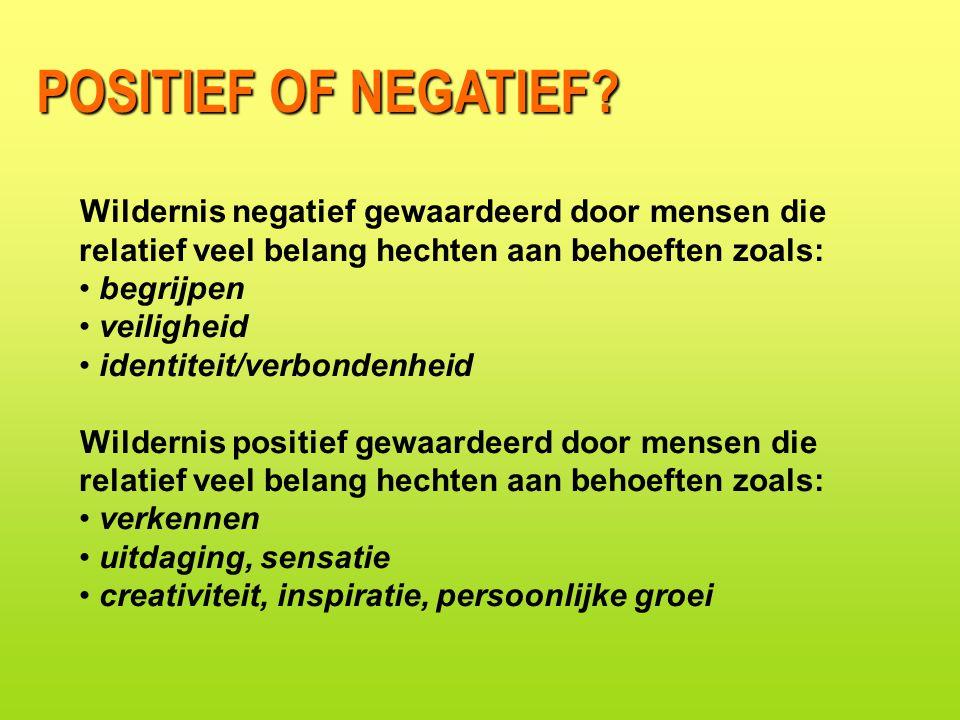 POSITIEF OF NEGATIEF Wildernis negatief gewaardeerd door mensen die relatief veel belang hechten aan behoeften zoals: