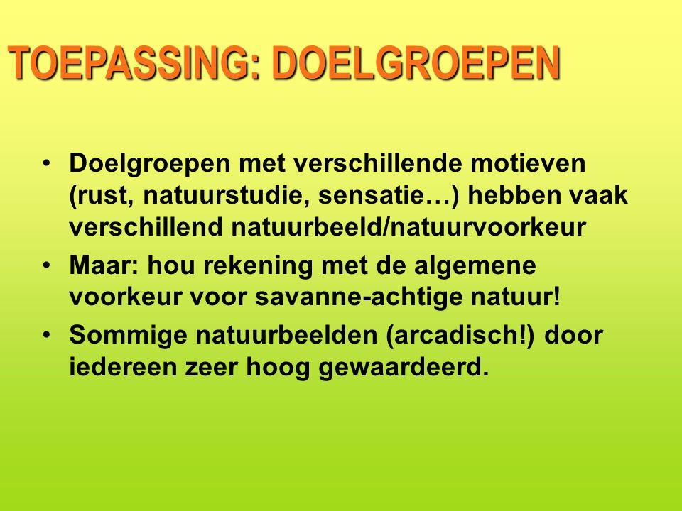 TOEPASSING: DOELGROEPEN