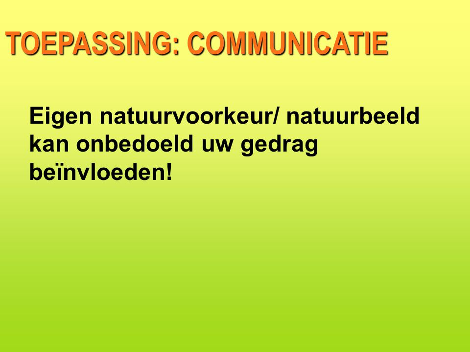 TOEPASSING: COMMUNICATIE