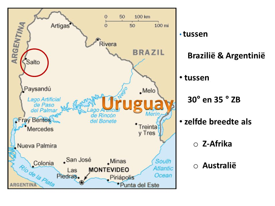 Uruguay Brazilië & Argentinië 30° en 35 ° ZB zelfde breedte als