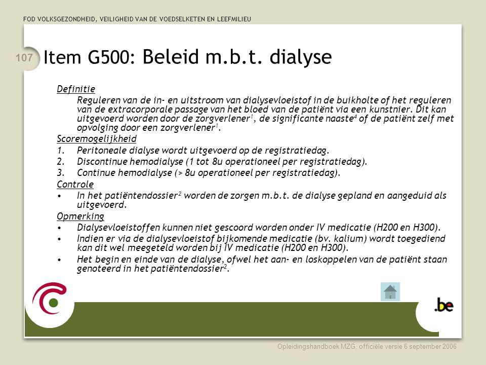 Item G500: Beleid m.b.t. dialyse