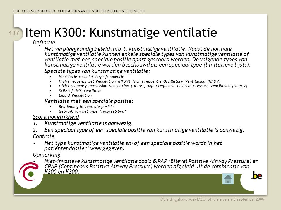 Item K300: Kunstmatige ventilatie