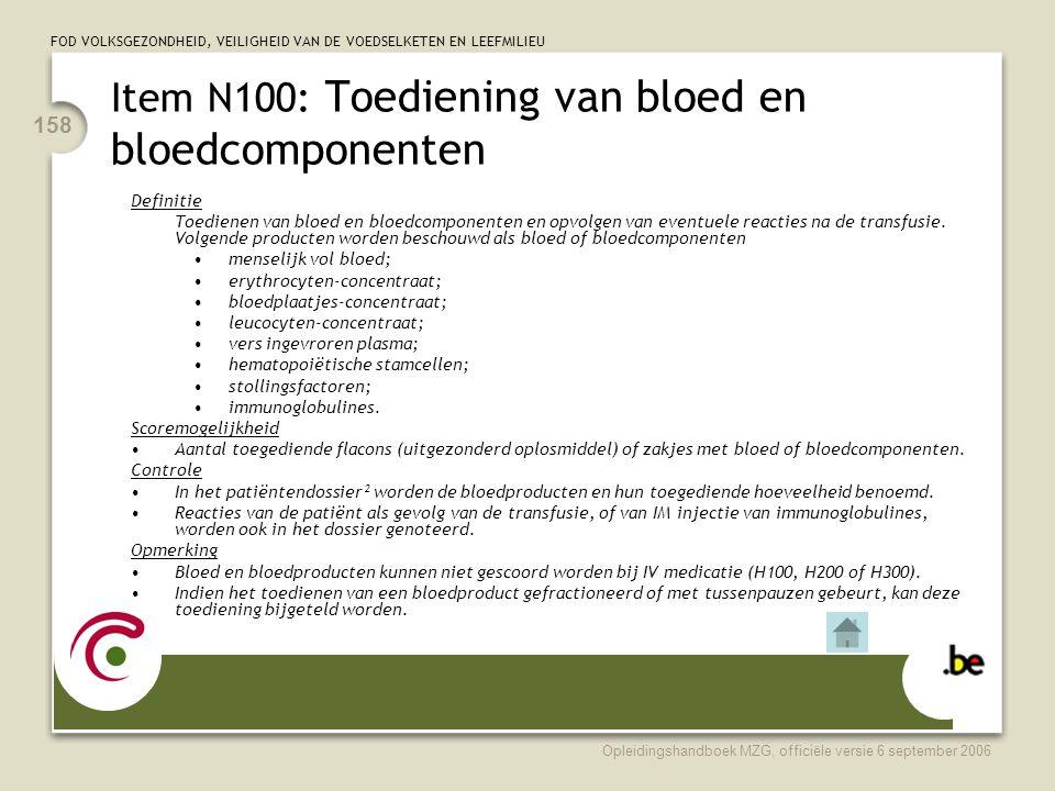 Item N100: Toediening van bloed en bloedcomponenten