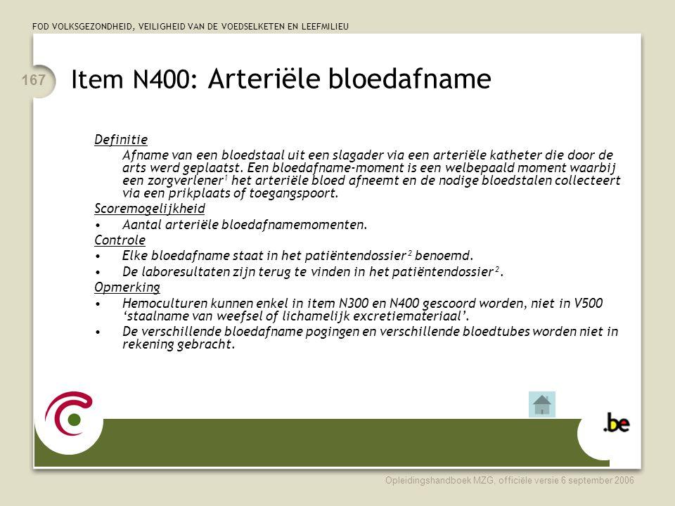 Item N400: Arteriële bloedafname