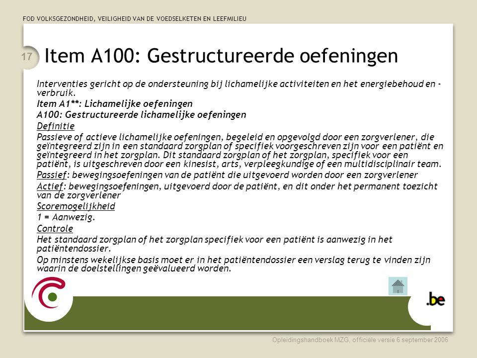 Item A100: Gestructureerde oefeningen