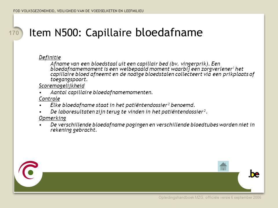 Item N500: Capillaire bloedafname