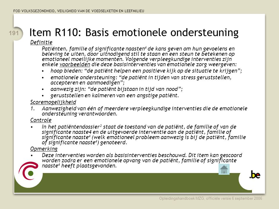Item R110: Basis emotionele ondersteuning