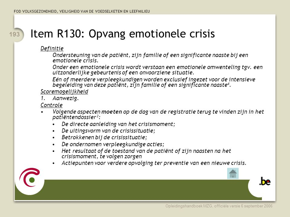 Item R130: Opvang emotionele crisis
