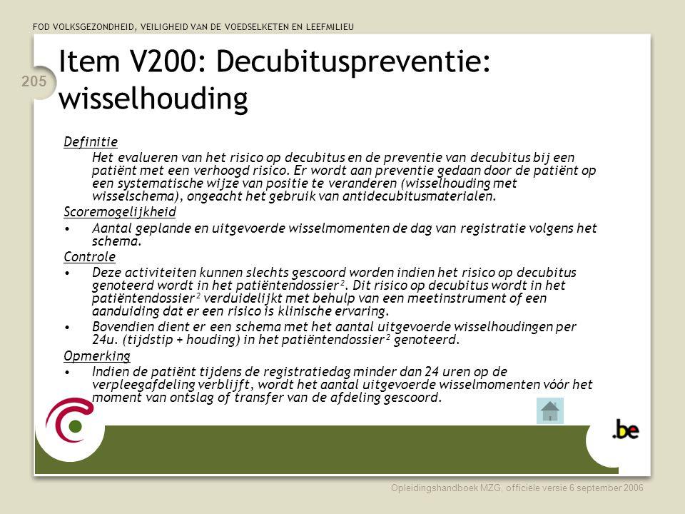Item V200: Decubituspreventie: wisselhouding