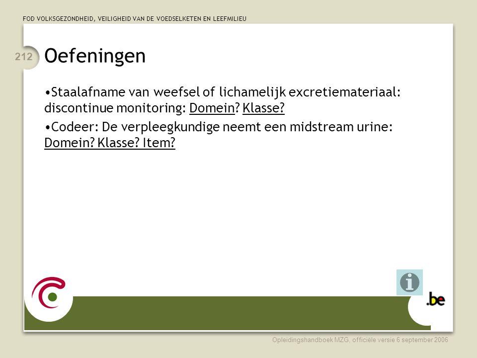 Oefeningen Staalafname van weefsel of lichamelijk excretiemateriaal: discontinue monitoring: Domein Klasse