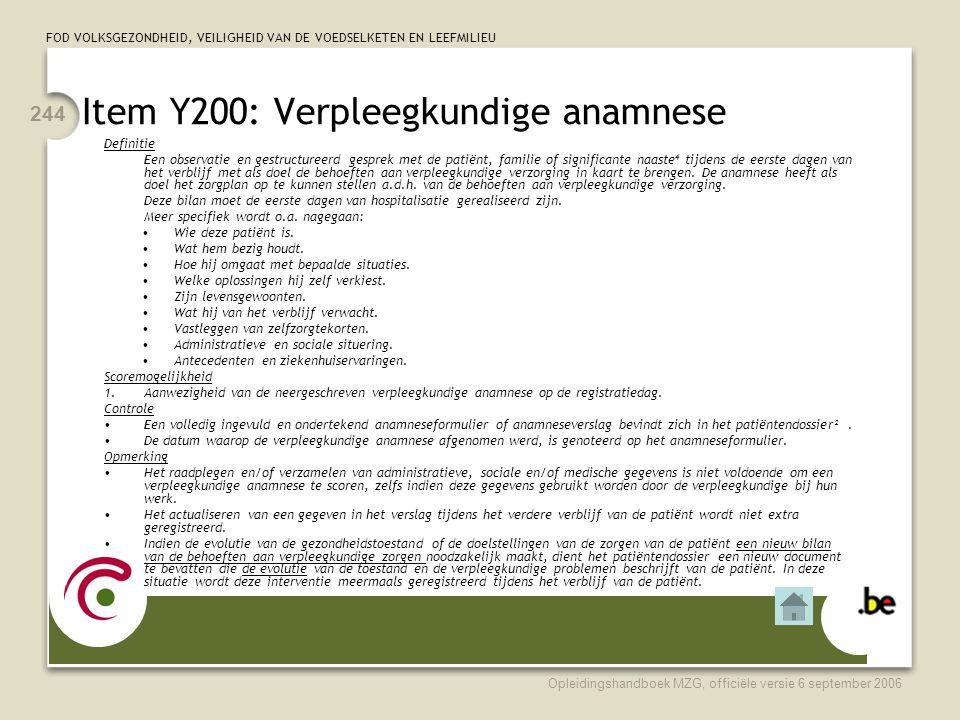 Item Y200: Verpleegkundige anamnese