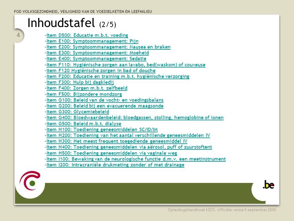 Inhoudstafel (2/5) Item D500: Educatie m.b.t. voeding