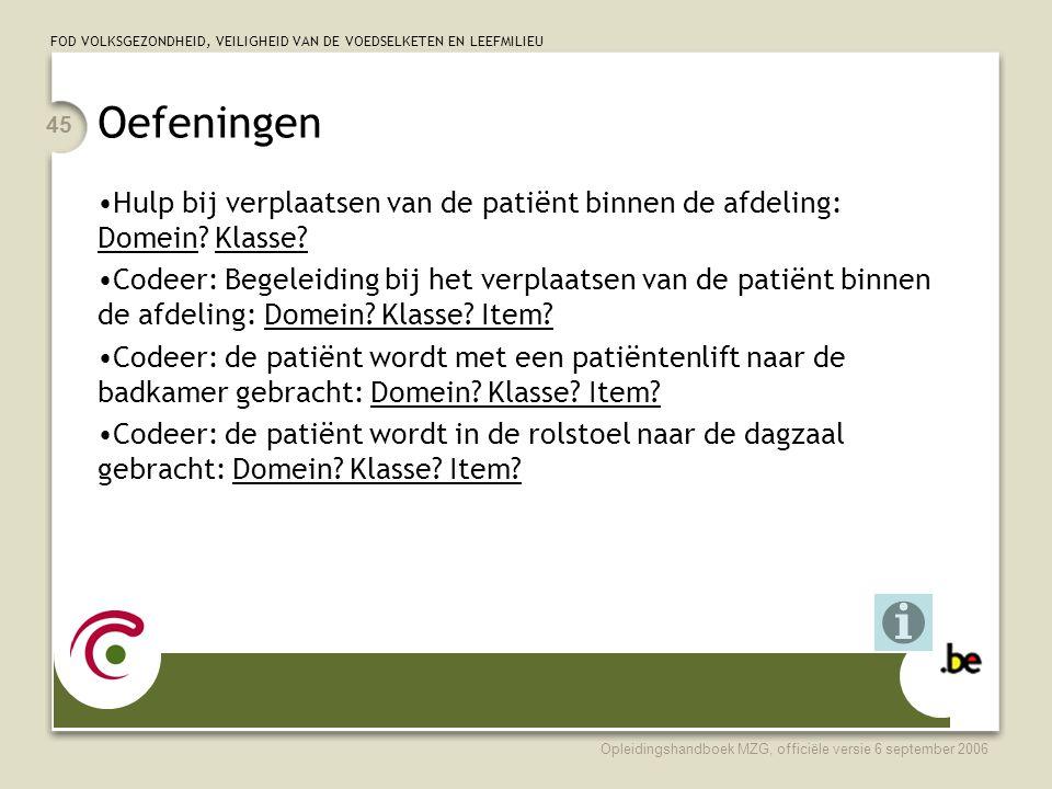 Oefeningen Hulp bij verplaatsen van de patiënt binnen de afdeling: Domein Klasse
