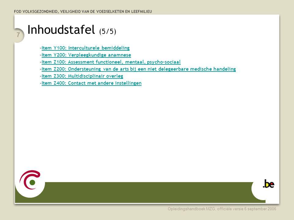 Inhoudstafel (5/5) Item Y100: Interculturele bemiddeling