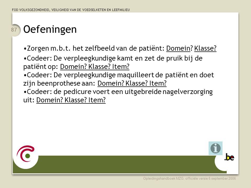 Oefeningen Zorgen m.b.t. het zelfbeeld van de patiënt: Domein Klasse