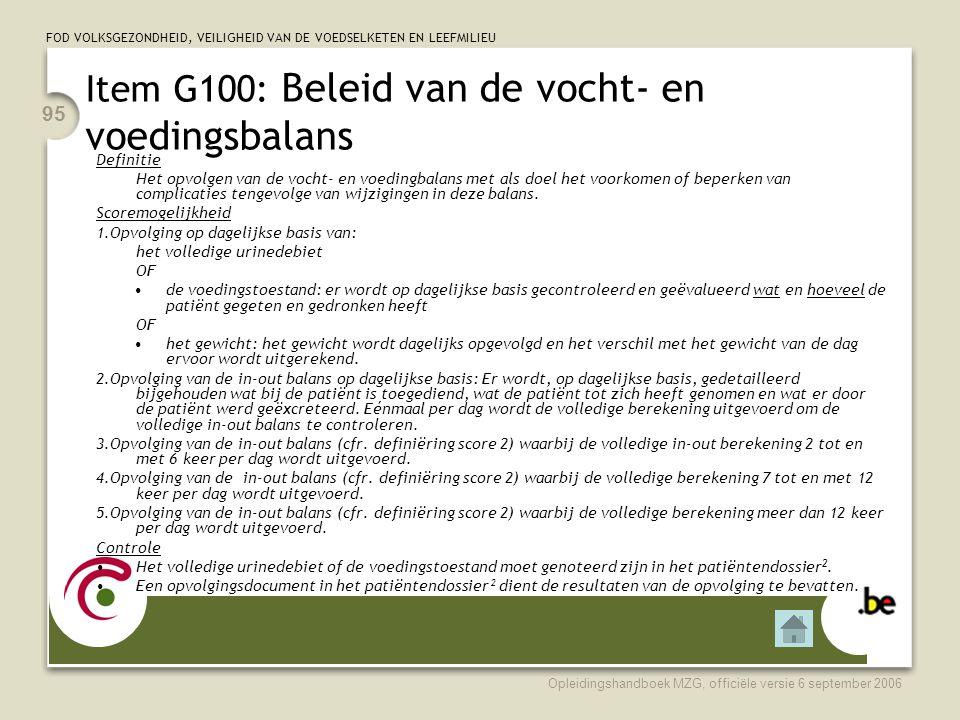 Item G100: Beleid van de vocht- en voedingsbalans