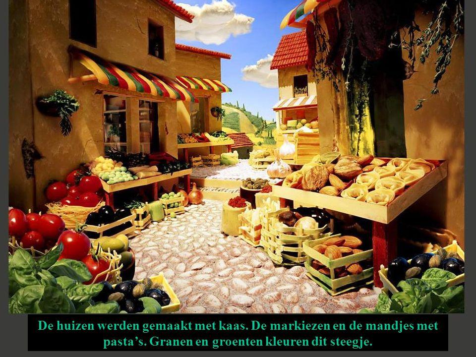 De huizen werden gemaakt met kaas