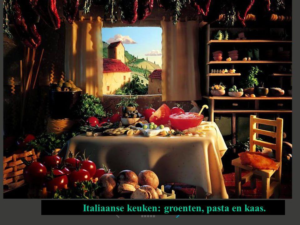 Italiaanse keuken: groenten, pasta en kaas.