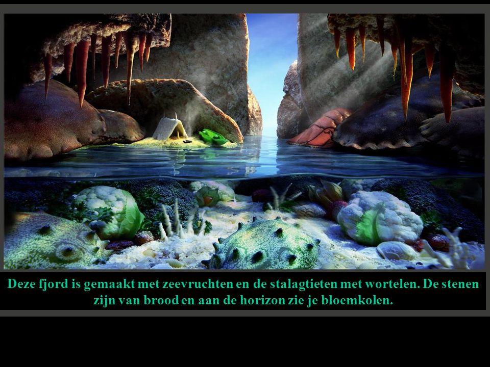 Deze fjord is gemaakt met zeevruchten en de stalagtieten met wortelen
