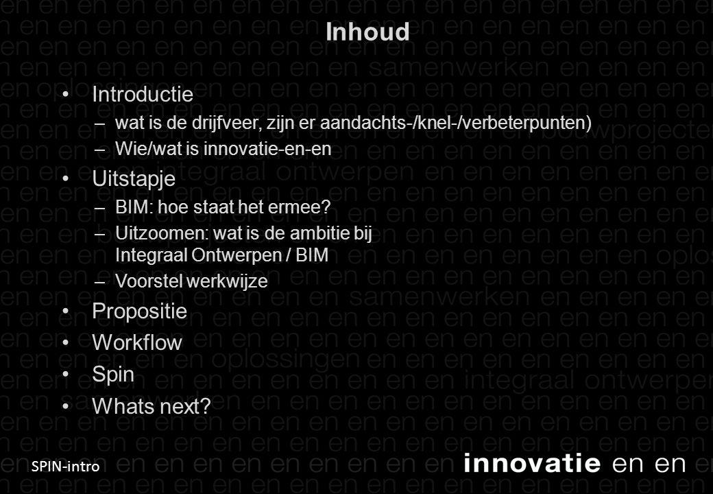 Inhoud Introductie Uitstapje Propositie Workflow Spin Whats next