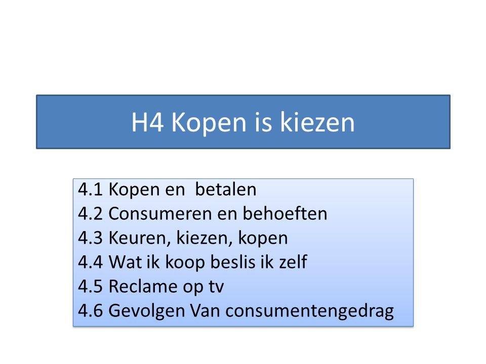 H4 Kopen is kiezen 4.1 Kopen en betalen 4.2 Consumeren en behoeften